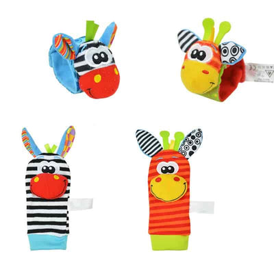 baby soft jungle animal socks wrist strap