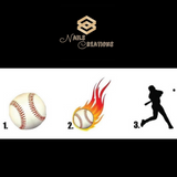 Baseball, Flames or Player Nail Decals Stickers Waterslide Nail Art Design