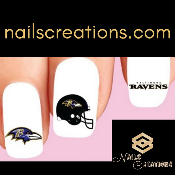 Baltimore Ravens Football Assorted Nail Decals Stickers Waterslide Nail Art Design
