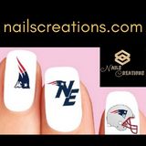 New England Patriots Football Assorted Nail Decals Stickers Waterslide Nail Art Design