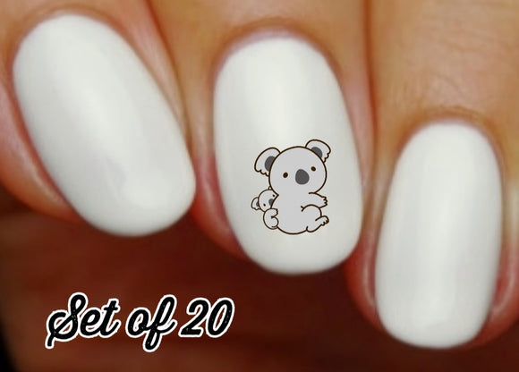 Koala with Baby Nail Decals Stickers Water Slides Nail Art