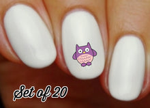 Load image into Gallery viewer, Owl Nail Decals Stickers Water Slides Purple Nail Art
