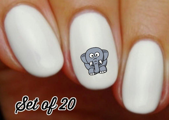 Elephant Nail Decals Stickers Water Slides Nail Art