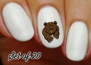 Grizzly Bear Nail Decals Stickers Water Slides Nail Art
