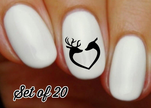 Deer Love Heart Nail Decals Stickers Water Slides Nail Art