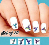 Blue and Purple Hummingbirds Assorted Nail Decals Stickers Water Slides Nail Art