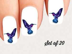 Blue and Purple Hummingbird Nail Decals Stickers Water Slides Nail Art