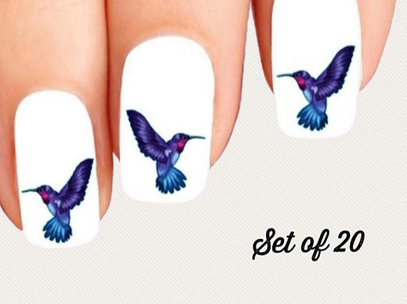Blue and Purple Hummingbird Nail Decals Stickers Water Slides Nail Art - Nails Creations