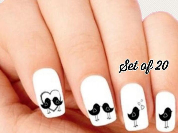 Birds with Hearts Nail Decals Stickers Water Slides Nail Art