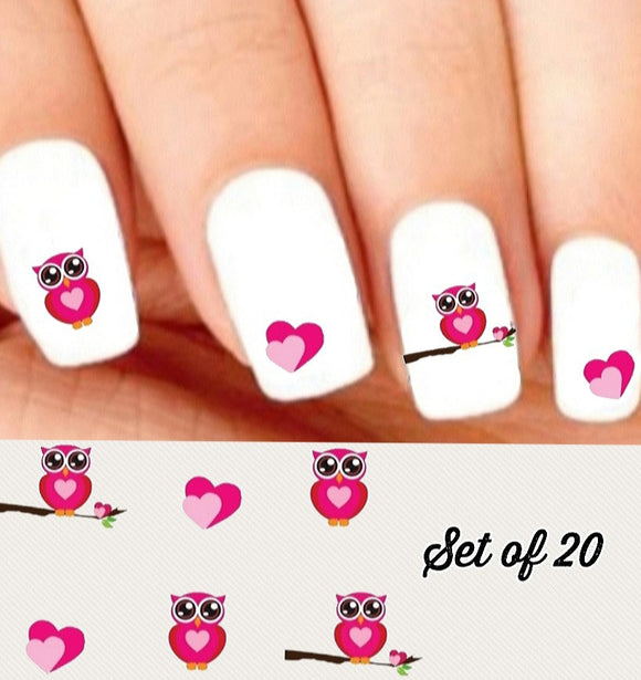 Pink Owl and Hearts Nail Decals Stickers Water Slides Nail Art