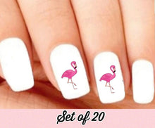 Load image into Gallery viewer, Pink Flamingo Nail Decals Stickers Water Slides Nail Art