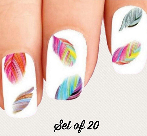 Colorful Rainbow Feathers Nail Decals Stickers Water Slides Nail Art