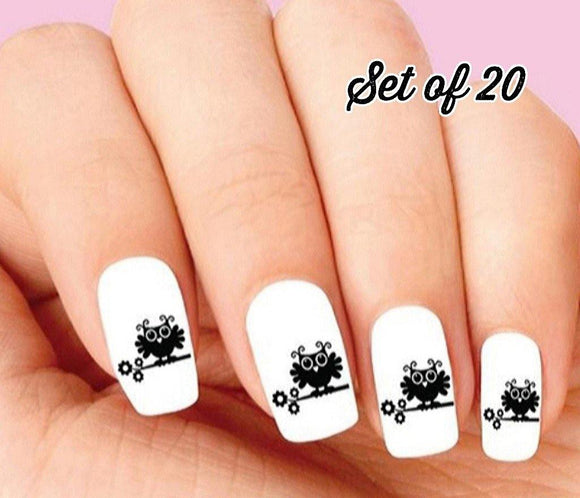 Cute Owl on Branch with Flower Silhouette Nail Decals Stickers Water Slides Nail Art