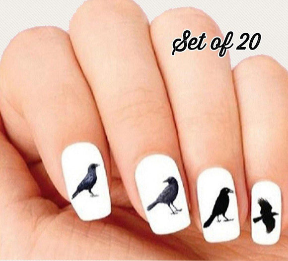Black Crow Raven Assorted Nail Decals Stickers Water Slides Nail Art