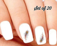 Load image into Gallery viewer, Colorful Peacock Feather Nail Decals Stickers Water Slides Nail Art