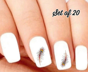 Colorful Peacock Feather Nail Decals Stickers Water Slides Nail Art