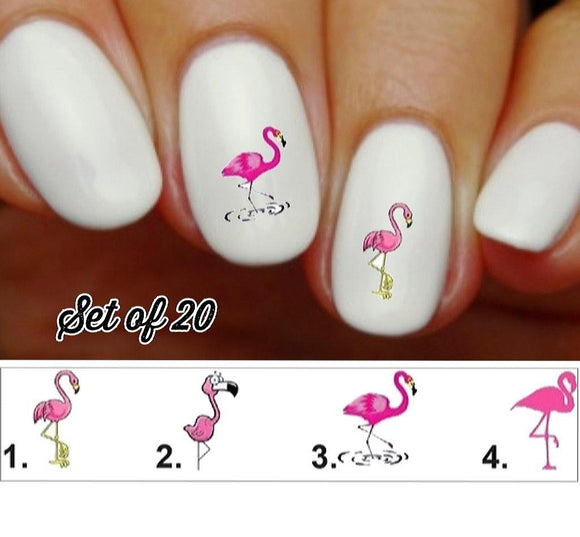 Pink Flamingo Nail Decals Stickers Water Slides Nail Art