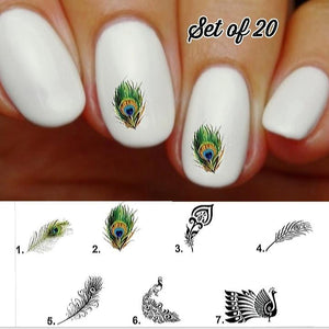 Peacock Feather Nail Decals Stickers Water Slides Nail Art