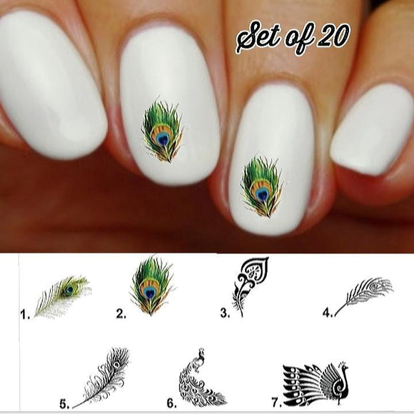 Peacock Feather Nail Decals Stickers Water Slides Nail Art - Nails Creations