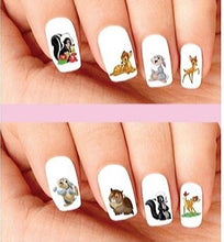 Load image into Gallery viewer, Bambi, Thumper, Flower & Owl Assorted Nail Decals Stickers Water Slides Nail Art