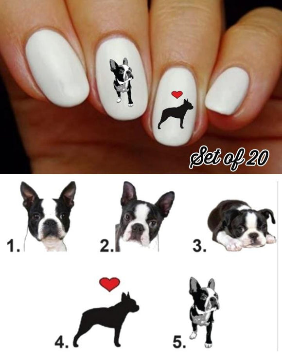 Boston Terrier Dog Nail Decals Stickers Water Slides Nail Art