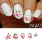 Pink and Yellow Roses Assorted Flowers Nail Decals Stickers Water Slides Nail Art