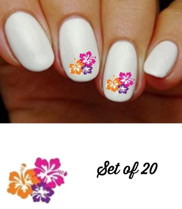 Colorful Hawaiian Hibiscus Flowers Nail Decals Stickers Water Slides Nail Art