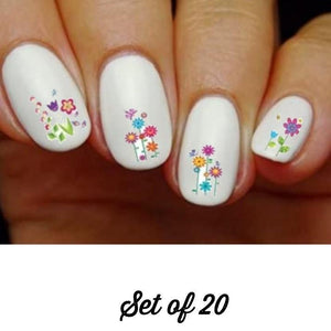 Colorful Spring Flowers, Butterflies & Dragonflies Assorted Nail Decals Stickers Water Slides Nail Art