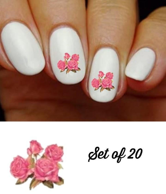 Pink Roses with Buds Nail Decals Stickers Water Slides Nail Art