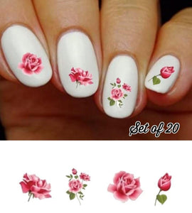 Pink Roses Assorted Nail Decals Stickers Water Slides Nail Art