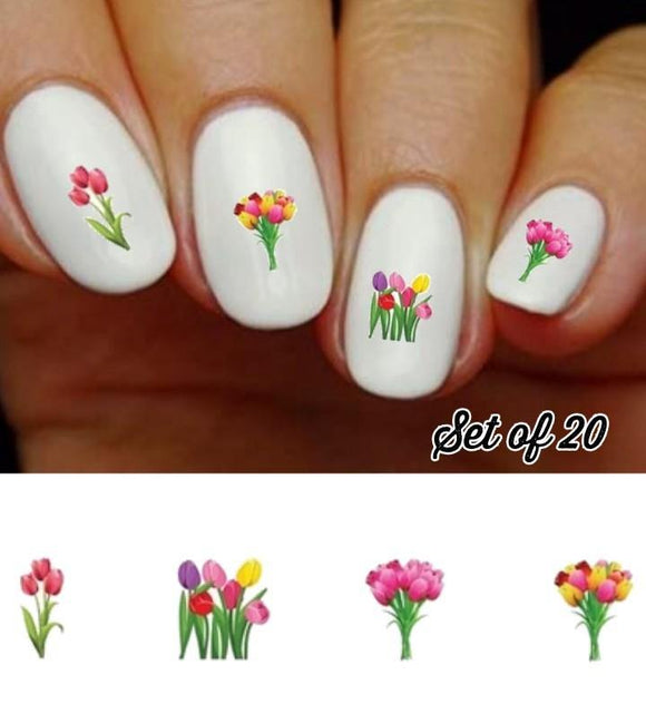 Flowers Colorful Tulips Assorted Nail Decals Stickers Water Slides Nail Art - Nails Creations