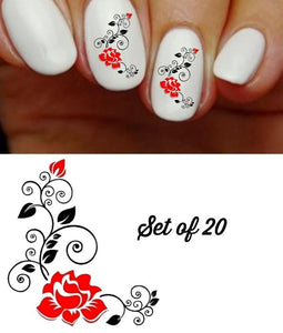 Roses Red & Black with Swirls Nail Decals Stickers Water Slides Nail Art