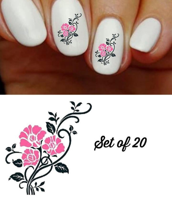 Roses Pink & Black with Vines Nail Decals Stickers Water Slides Nail Art