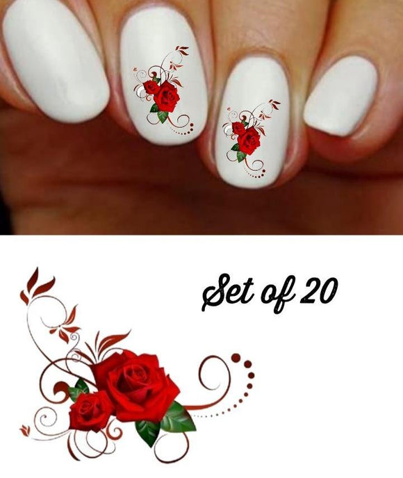 Red Roses Corner with Swirls Nail Decals Stickers Water Slides Nail Art