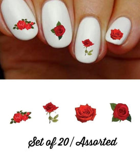 Red Roses Assorted Nail Decals Stickers Water Slides Nail Art