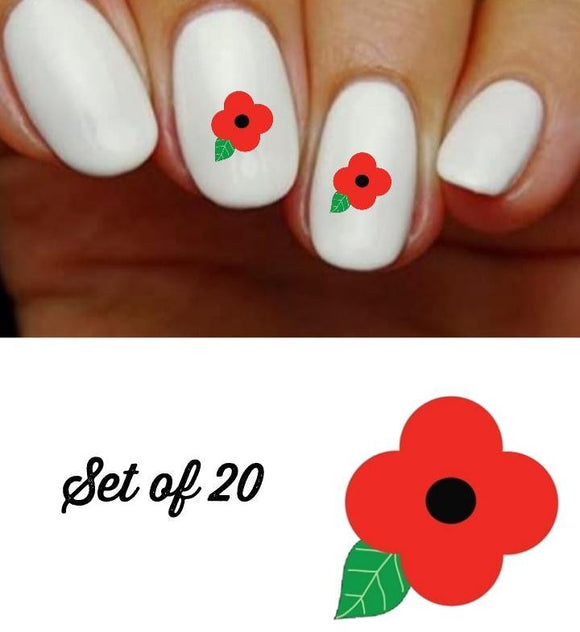 Flower Red Poppy Nail Decals Stickers Water Slides Nail Art