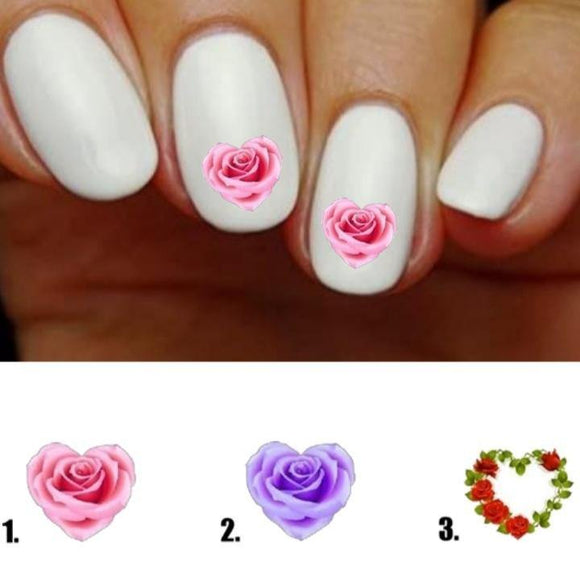 Rose in Heart Nail Decals Stickers Water Slides Nail Art