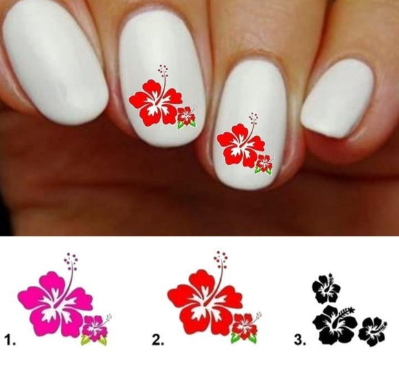 Hibiscus Flowers Nail Decals Stickers Water Slides Nail Art