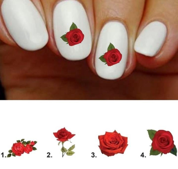 Red Rose Nail Decals Stickers Water Slides Nail Art