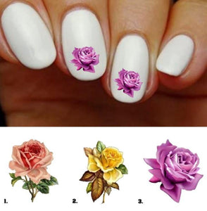 Rose Nail Decals Stickers Flowers Water Slides Nail Art - Nails Creations