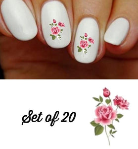 Pink Roses Nail Decals Stickers Water Slides Nail Art