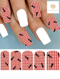 Picnic Red Plaid Tablecloth with Ants Set of 10 Waterslide Full Nail Decals