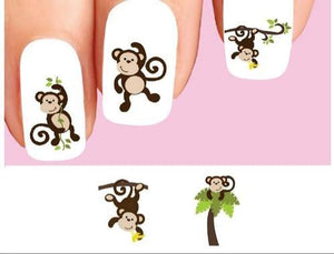Cute Monkey Palm Tree Banana Assorted Waterslide Nail Decals - Nails Creations