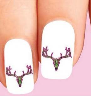 Pink & Green Camo Camouflage Deer Skull Waterslide Nail Decals - Nails Creations