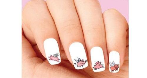 Pigs Can Fly Assorted Waterslide Nail Decals