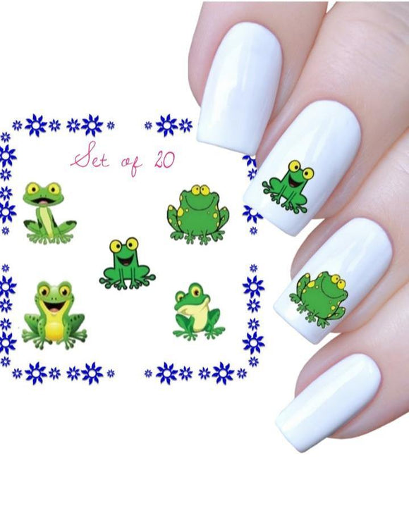 Cute Green Frog Assorted Set of 20 Waterslide Nail Decals - Nails Creations