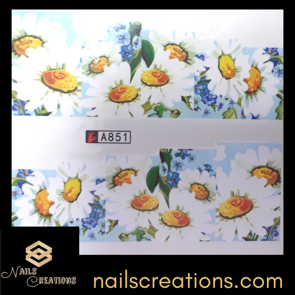 Daisies Floral Print Design Waterslide Nail Decal A851