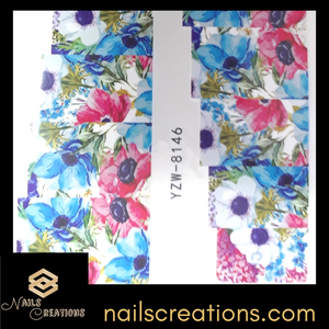 Blue & Pink Spring Flowers Waterslide Nail Decal YZW-8146