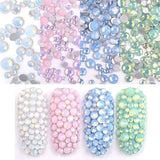 Sparkly Opal Rhinestones for Nails 3D Nail Art Rhinestones - DIY Nail Jewels Crafts - Crystal Diamond Rhinestones and Charms Nail Decoration Flatback Gems Stones, Opal White