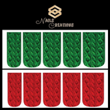 Christmas Holiday Green & Red Cable Knit Sweater Set of 10 Full Waterslide Nail Decals